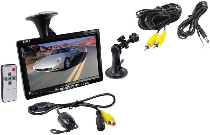 """Pyle - 7"""""""" Window Suction Mount TFT LCD Widescreen Monitor & Universal Mount Rearview Color Camera with Distance Scale Line"""