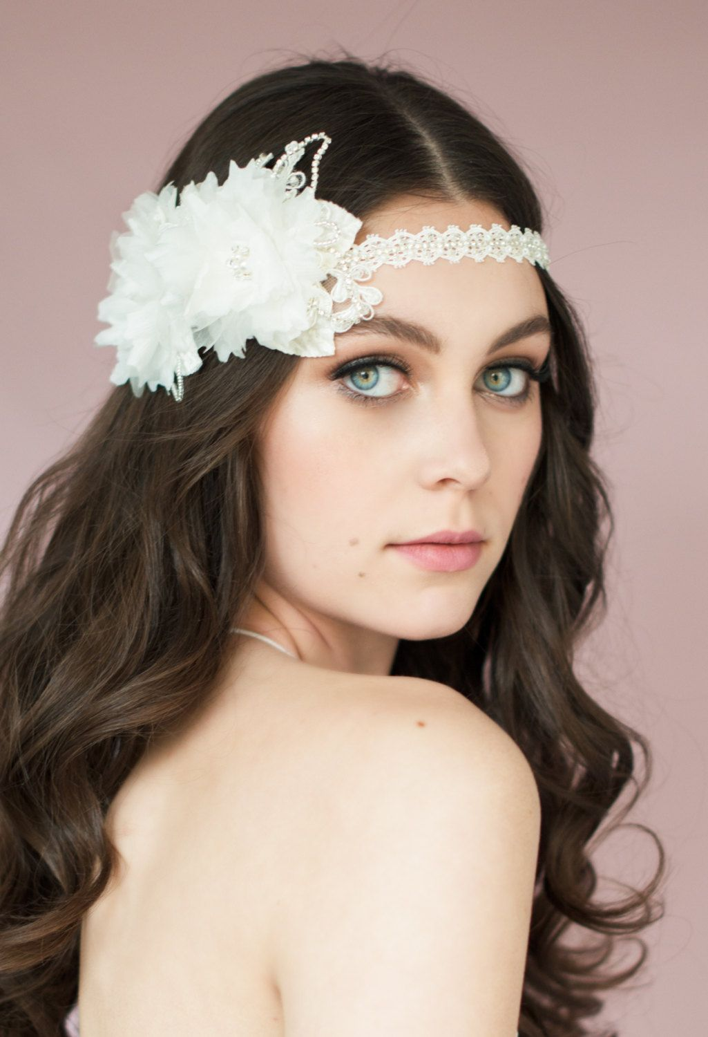 Bridal headband with veil or without emmaline bride