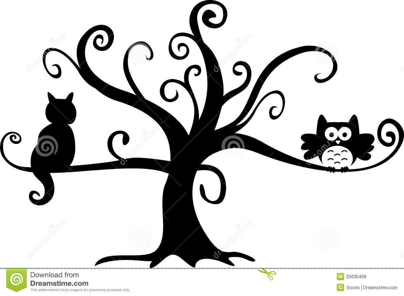 Halloween Tree Clip Art | ... halloween night owl and cat ...