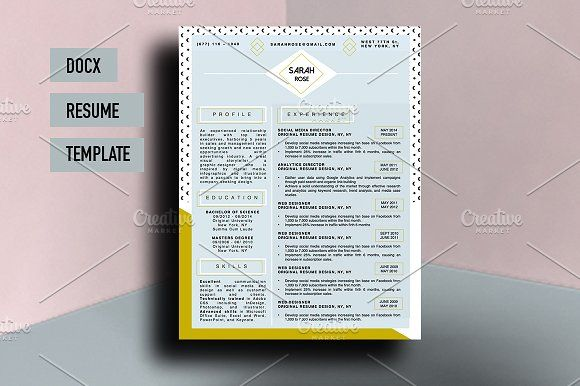 Sarah Rose Beautiful Resume Template By Stand Out Shop On