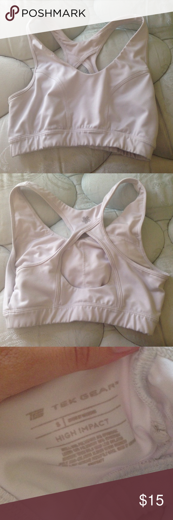 White sports bra White sports bra by Tek Gear. Bought at Kohl's. Like new! Feel free to ask questions and make offers. I also bundle! Tek gear  Intimates & Sleepwear Bras