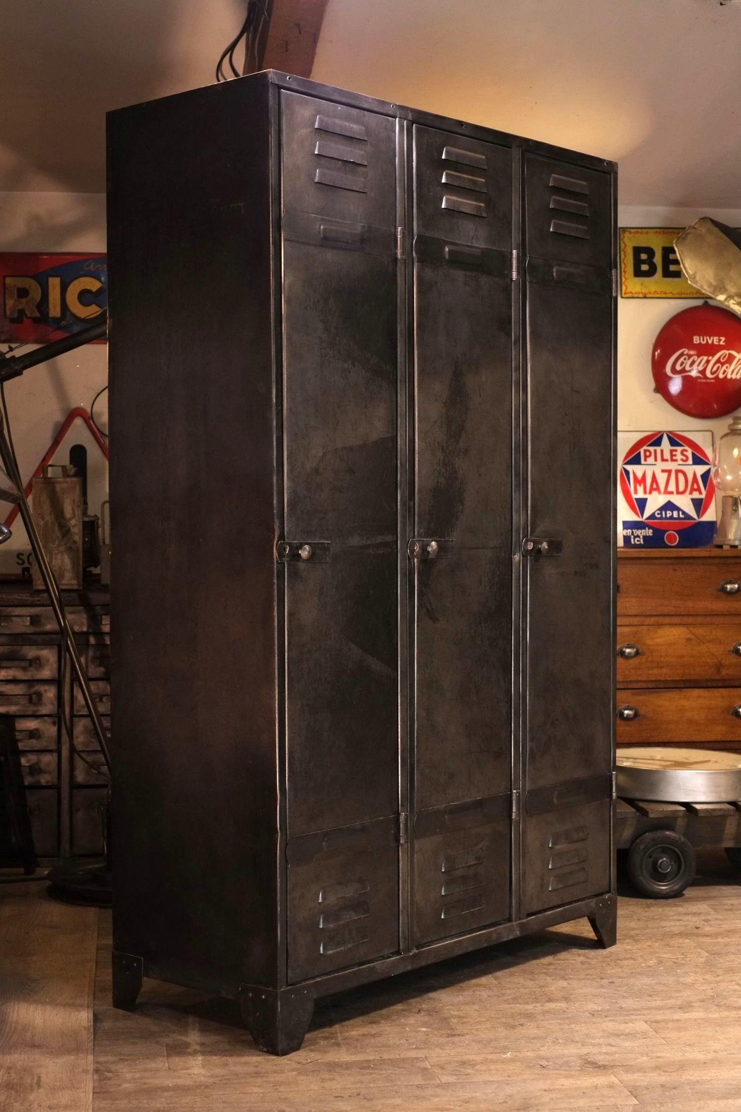 Armoire Vestiaire Metal Vintage Industrial Mobel Loft Mobel Kleiderschrank