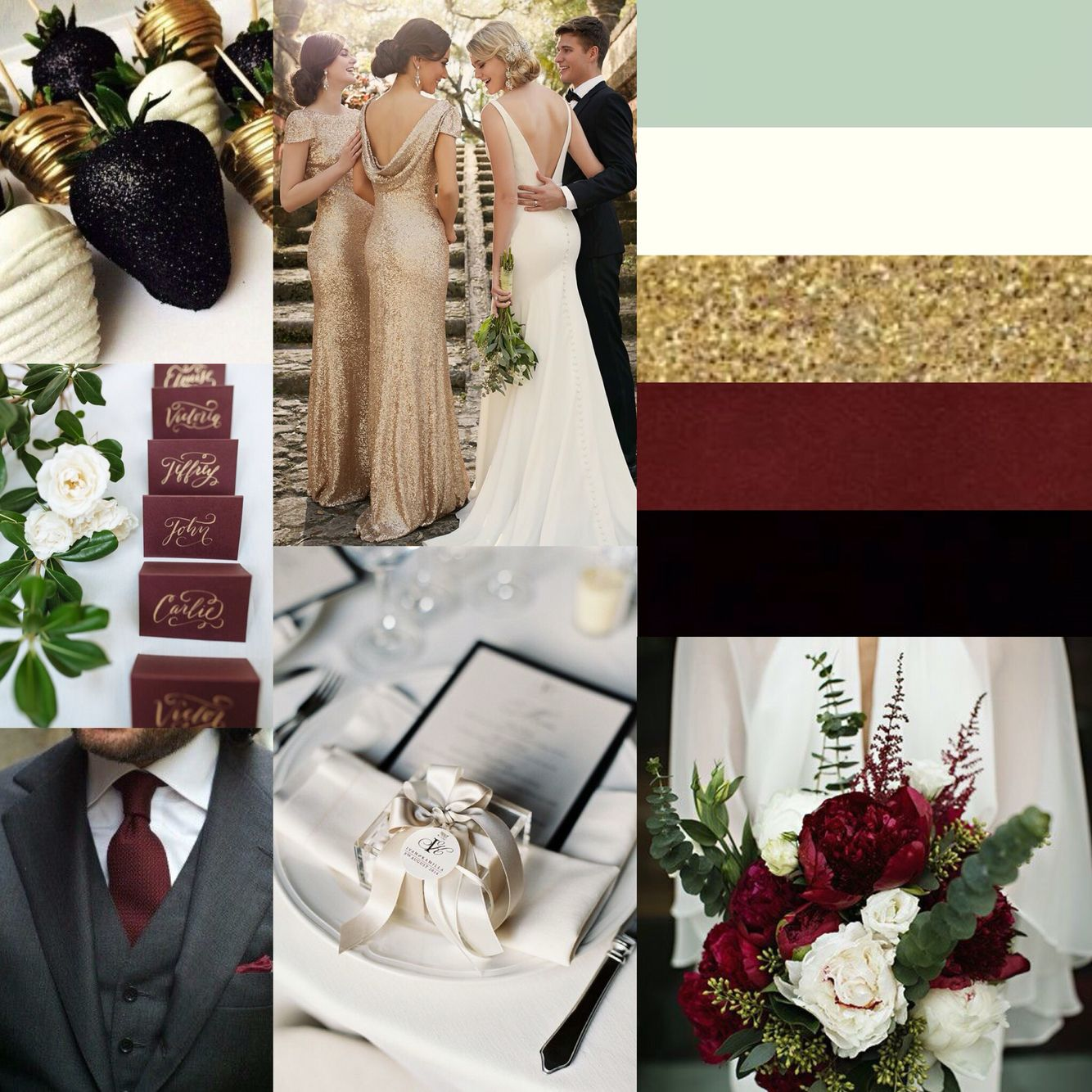 Peacolor Wedding Ideas: Black, Gold, Ivory, Pale Green And Marsala- Beautiful