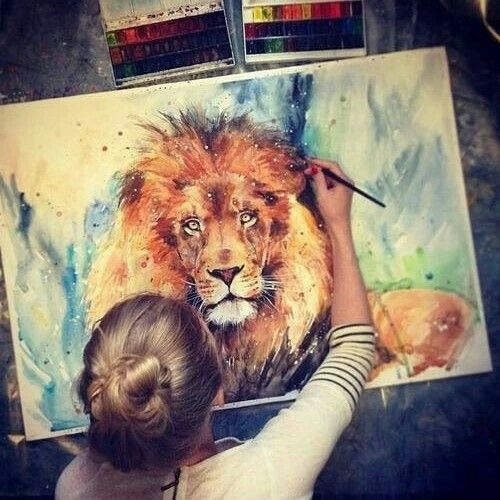 art, aslan, beautiful, colorful, colors, cute, fashion, girl, grunge, hipster, indie, lion, movies, paint, painting, wild, youn, my album, First Set on Favim.com