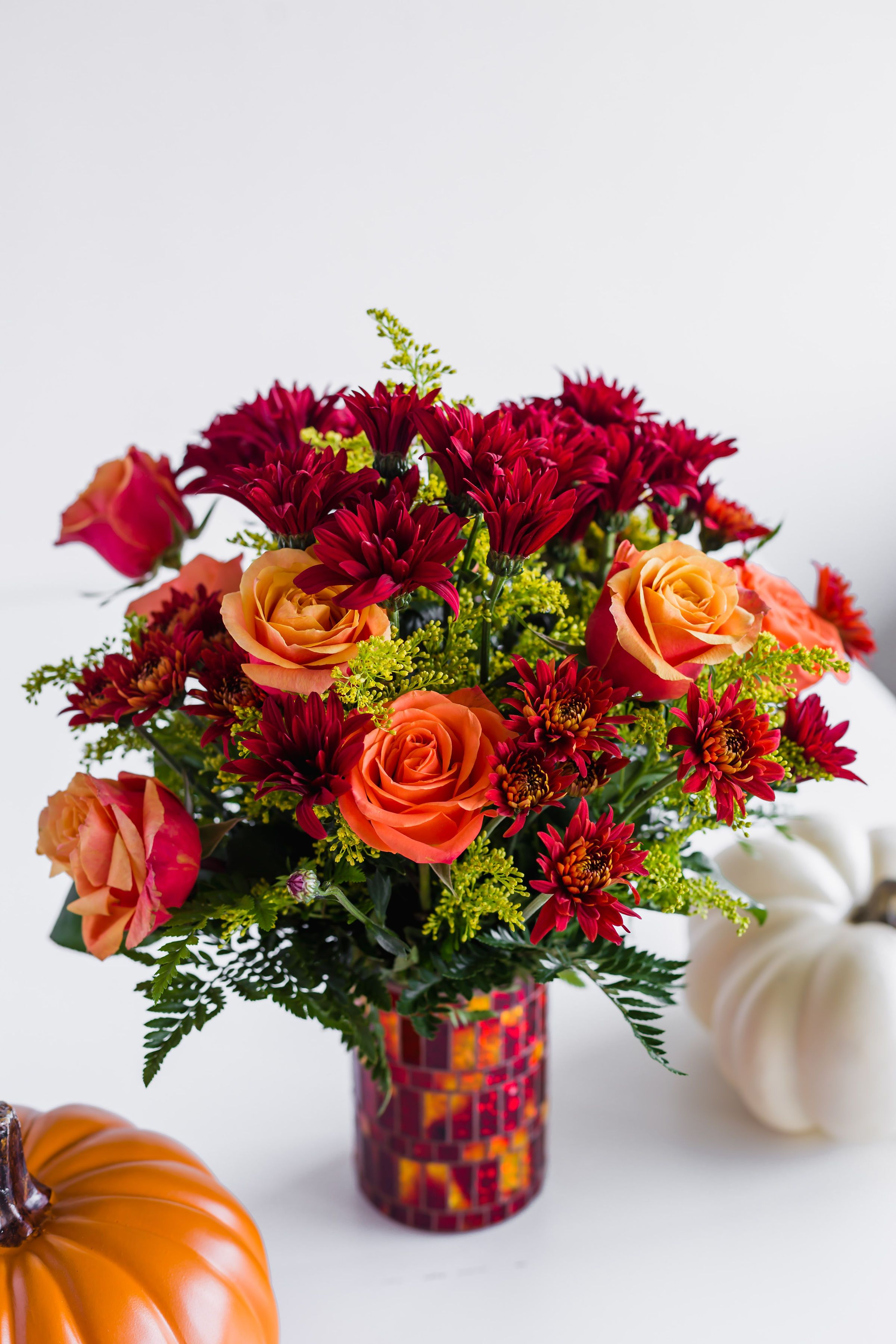 A Shimmering Mosaic Vase Sets Our Unique Autumn Flower Arrangement