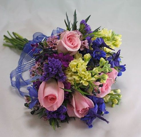 Pink blue yellow bouquets blue mixed flower prom bouquet for Pink and blue flower arrangements
