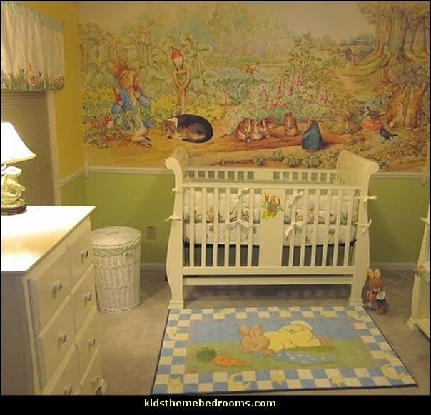 Peter rabbit baby nursery wall mural the illustrated for Beatrix potter mural wallpaper