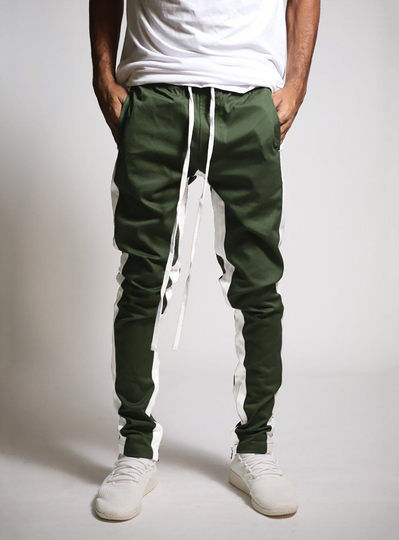 66c40ff9efb0fb Double Striped Track Pant in Olive and White in 2019
