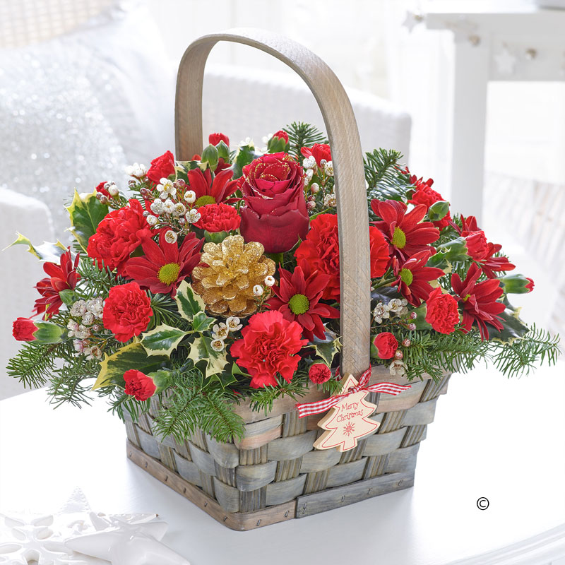 Christmas festive basket in 2020 Christmas flower