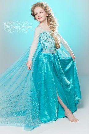 Little girl Frozen Elsa Halloween costume that are popular in 2015 - cape, chiffon, silk