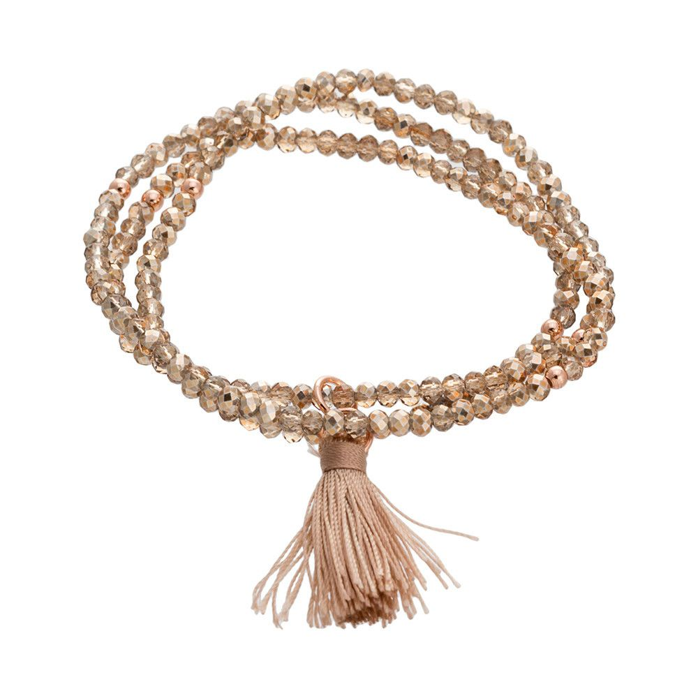 Rose Gold Over Silver Gold Crystal Stretch Tassel