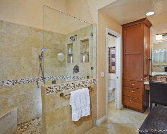 walk in shower with half wall and half glass bathroom remodel ideas pinterest half walls. Black Bedroom Furniture Sets. Home Design Ideas