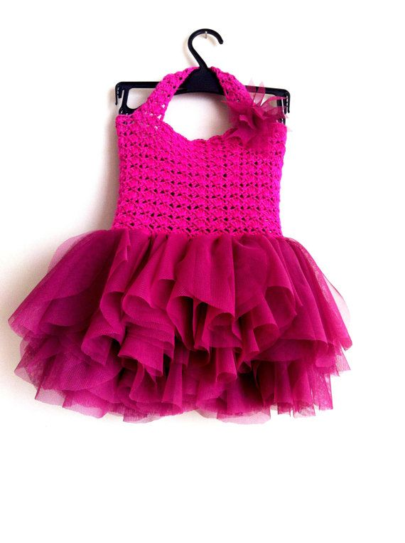 697f97cbbea9 Hot Pink Tulle Dress with Lace Bodice. Dark Pink Tulle Dress