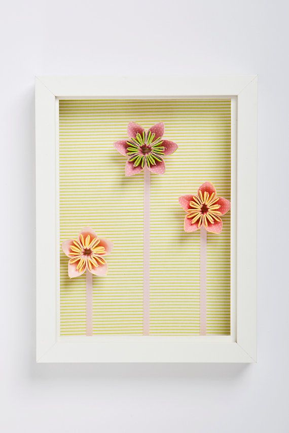 wall decoration. Handmade 3D framed art. 3 origami flowers in pink ...