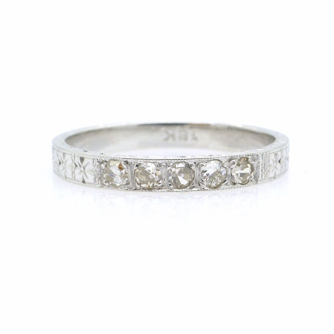 Art Deco Diamond Wedding Band 1920's Antique 18k White Gold Engraved Vintage Anniversary Eternity Ring Gatsby Style Stacking Free Ship By: Gatsby Style Wedding Rings At Reisefeber.org