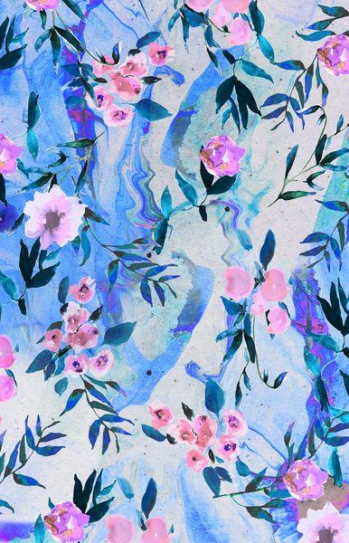 Nikki Strange Floral Marble Swirl Art Print Floral Prints Art
