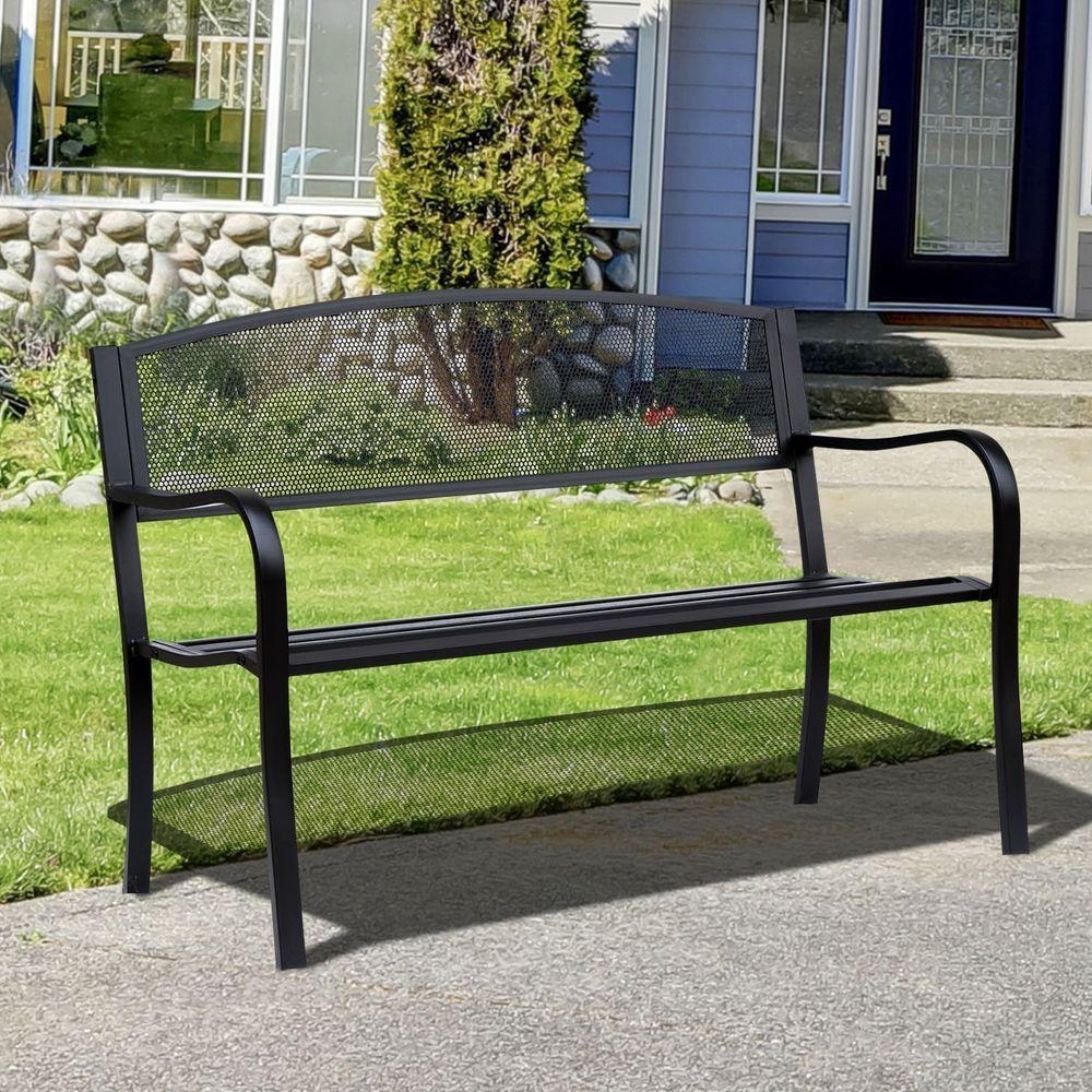 Black Metal Garden Bench 2 Seater Chair Front Porch Yard Deck Seating Furniture Blackmetalgardenbench