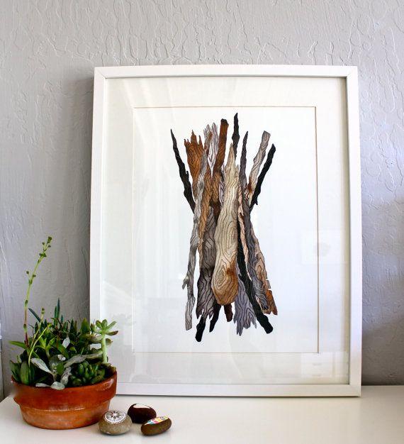 Driftwood Watercolor Painting, Sticks Nature Art, Giclee Art Print, Archival Art Print - Driftwood Bundle 5x7 on Etsy, $15.00