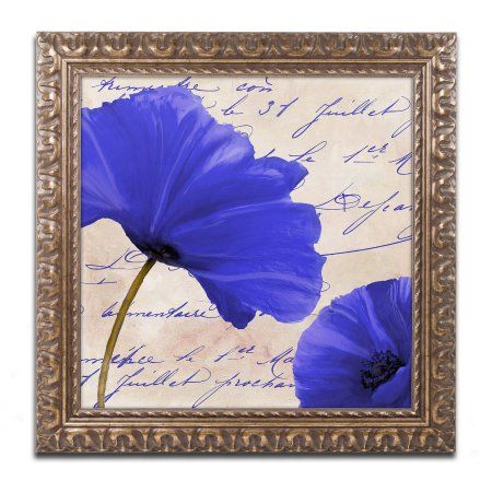 Trademark Fine Art Coquelicots Bleues II Canvas Art by Color Bakery Gold Ornate Frame, Assorted
