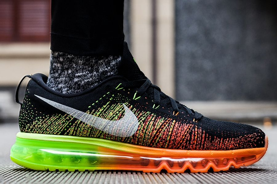 new concept a74bd fb68e Nike Flyknit Air Max Atomic Orange Volt Electric Green Black