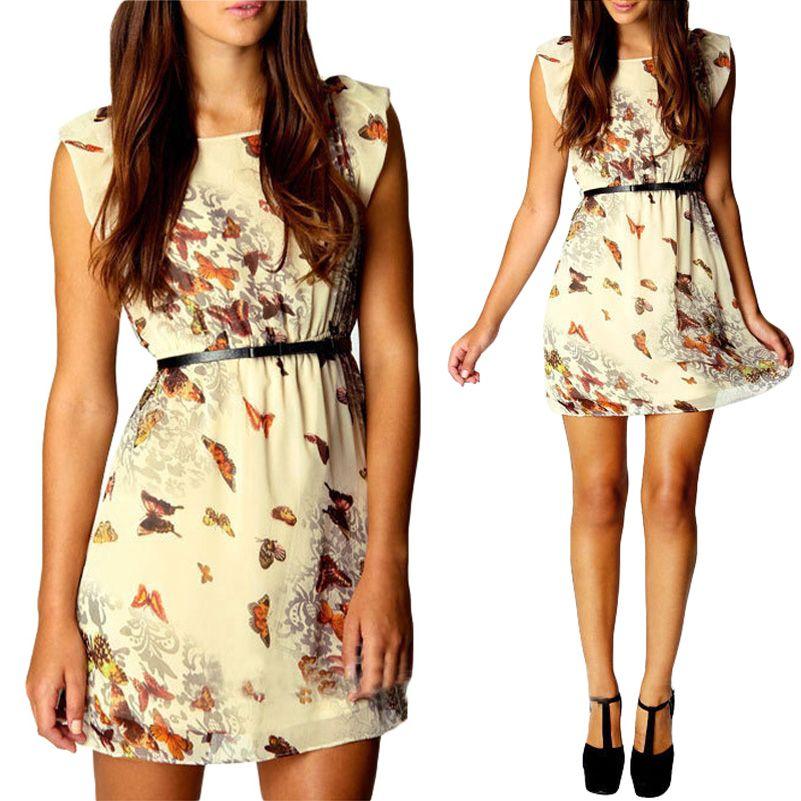 Women's Round Butterfly Print Sleeveles Chiffon Mini Dress