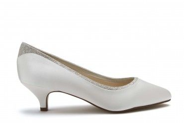 a4f85e73ea2cc Bobbie by Rainbow Club. A chic bridal shoe with a touch of shimmer, Bobbie  is a low-heeled court crafted from lustrous ivory satin.