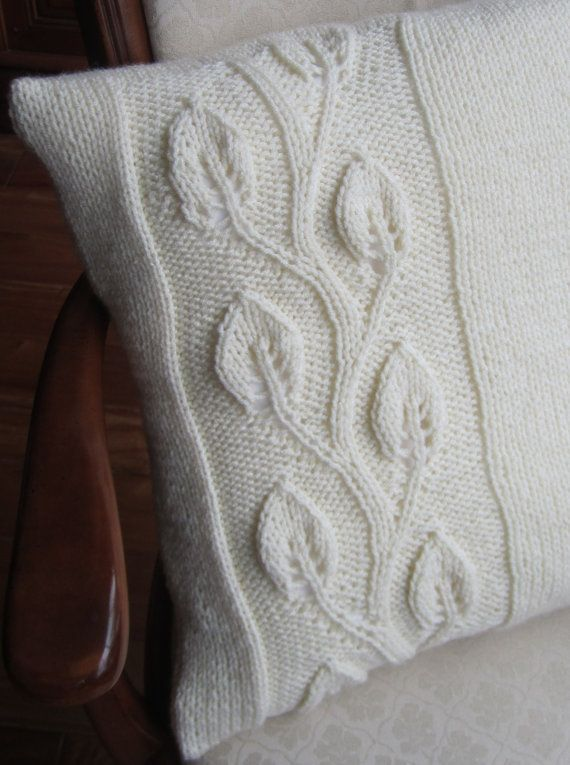 Climbing leaf hand knit aran style 20x20 pillow by LadyshipDesigns ...