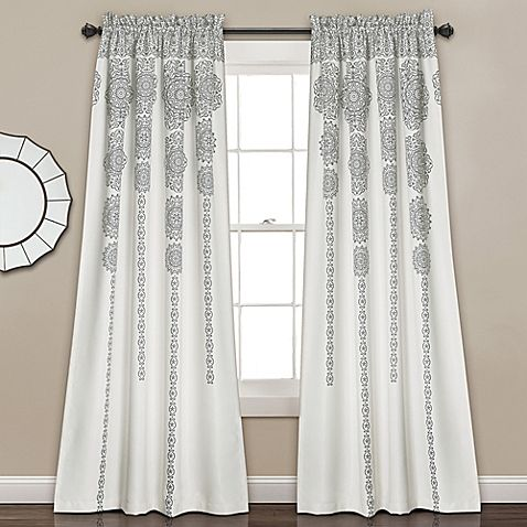 Lush Decor Stripe Medallion 84 Inch Room Darkening Window Curtain