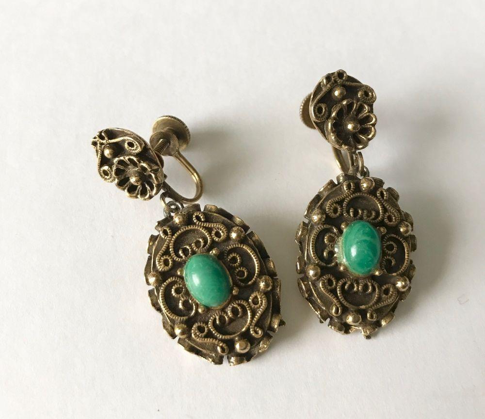 Vintage Coro Designer Screw Back Earrings Cannetille Style