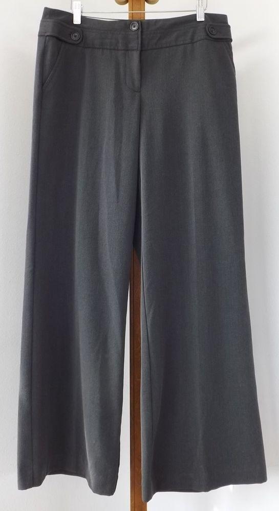 Worthington Dress Pants Size 8 Charcoal Gray Wide Leg Womens #Worthington #DressPants