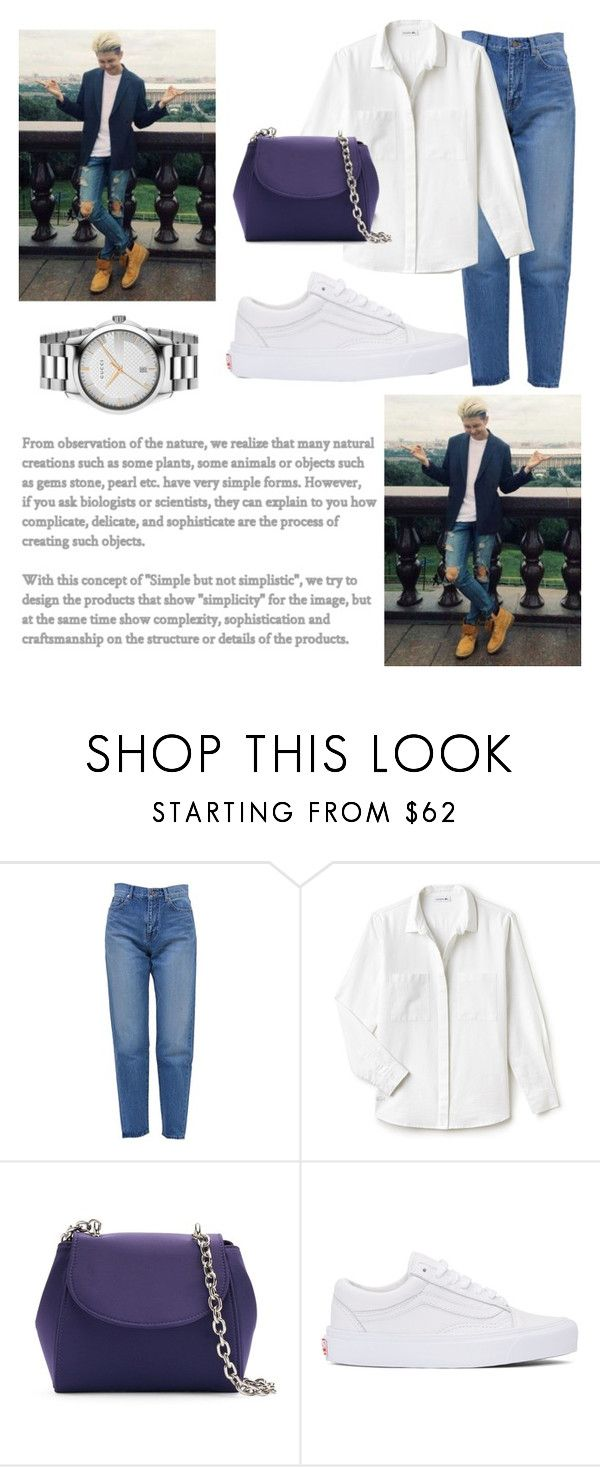 """""""namjoon"""" by kbgtn ❤ liked on Polyvore featuring Yves Saint Laurent, Lacoste, La Regale, Vans and Gucci"""
