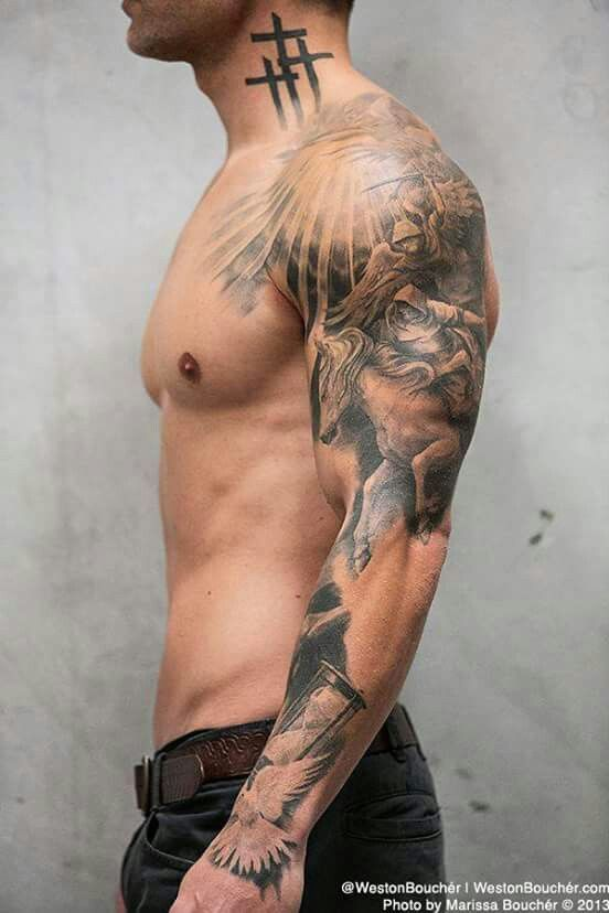 50 Best Sleeve Tattoo Design Inspirations For Men Best Sleeve Tattoos Angel Sleeve Tattoo Sleeve Tattoos