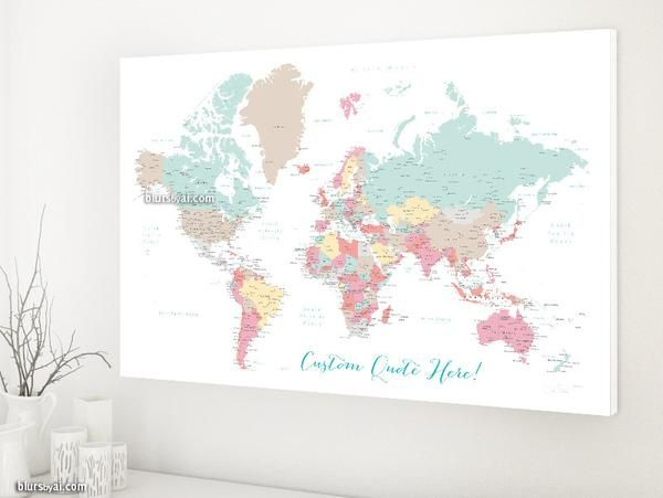 World map canvas print or push pin map pastels world map with personalized world map canvas print or push pin map pastels world map with cities pretty pastels gumiabroncs Image collections