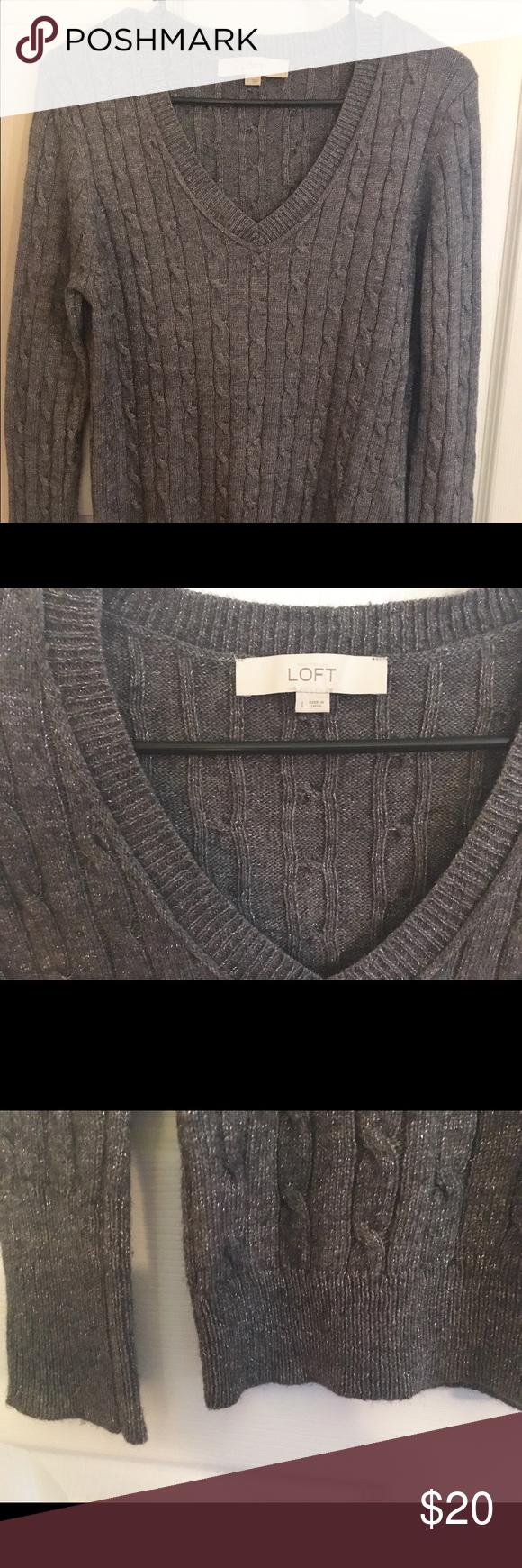 Loft V-Neck Cable Knit Sweater Large Dark Grey Beautiful Loft dark ...