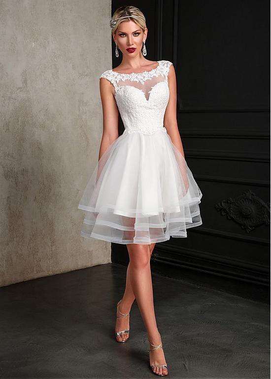 Magbridal Simple Tulle Scoop Neckline Short A-line Wedding Dress With Lace Appliques