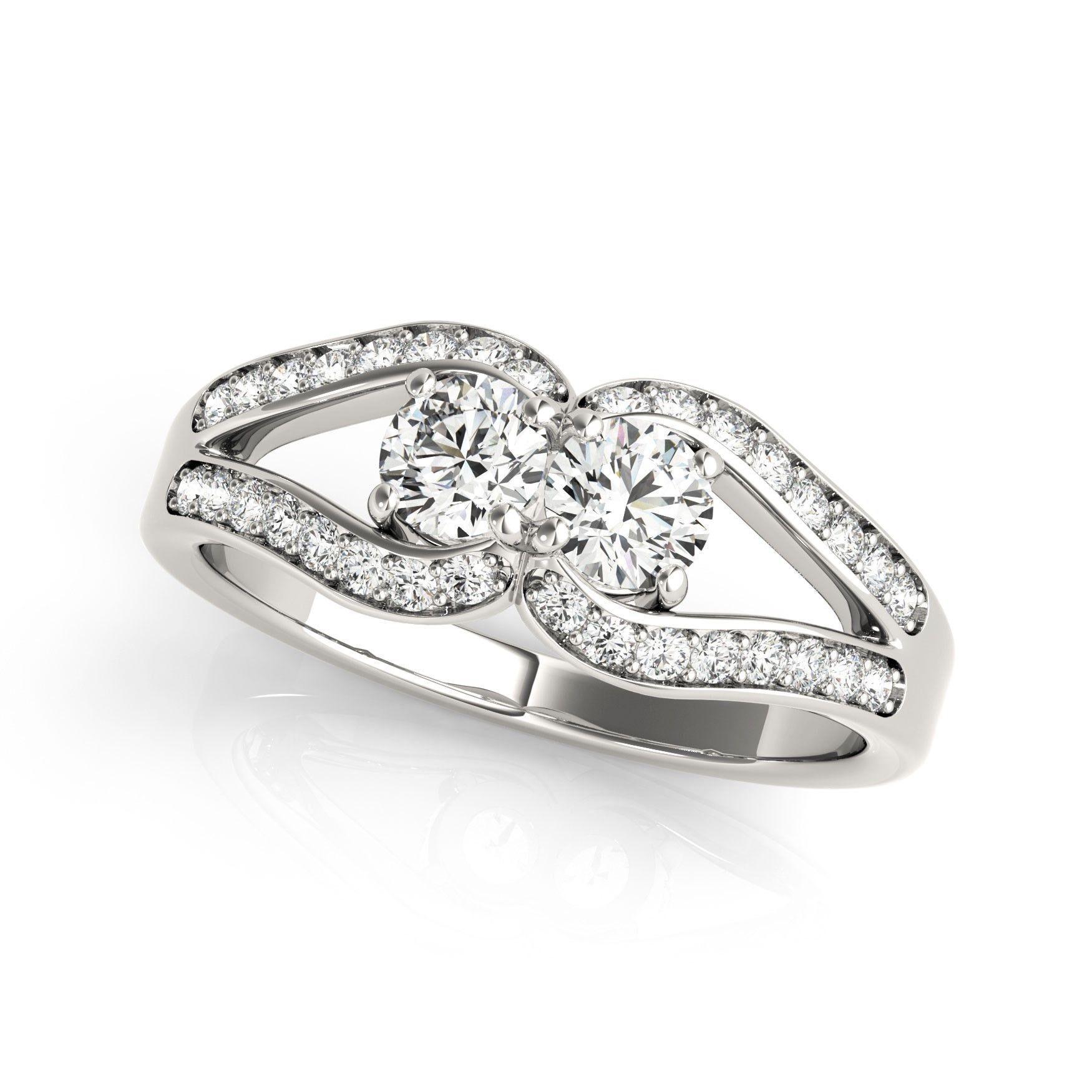 Two Stone Split Shank Design Diamond Ring in 14K White