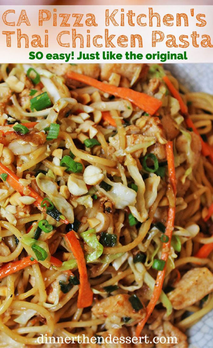CPK Thai Peanut Chicken Pasta made with chicken, vegetables, and a