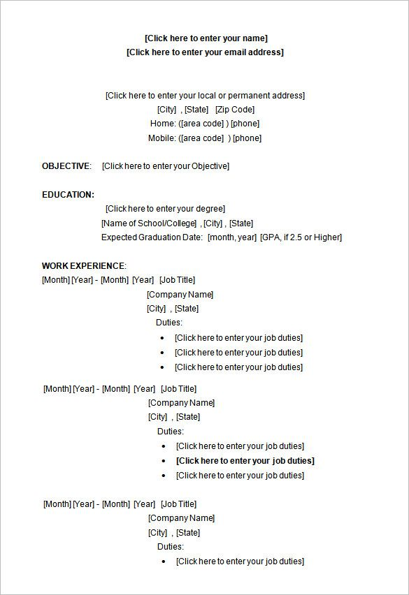 sample microsoft word college student resume format a successful resume template open office for job