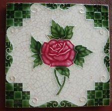 vintage japanese made SAJI   ..ARTDECO   TILE... pink rose