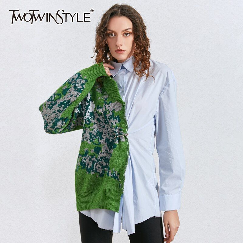 TWOTWINSTYLE Patchwork Hit Color Kitting Shirts F