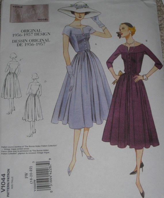 Vintage 50er Jahre Stil Swing Kleid Vogue 1044 Schnittmuster Plus ...