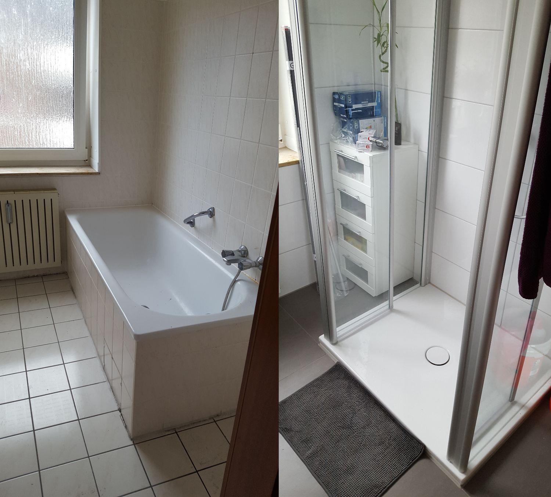 Superb Vorher Nachher   Renovierung Meines Bathroom / Badezimmer. Dunkle  Bodenfliesen Und Helle Wandfliesen Nice Ideas