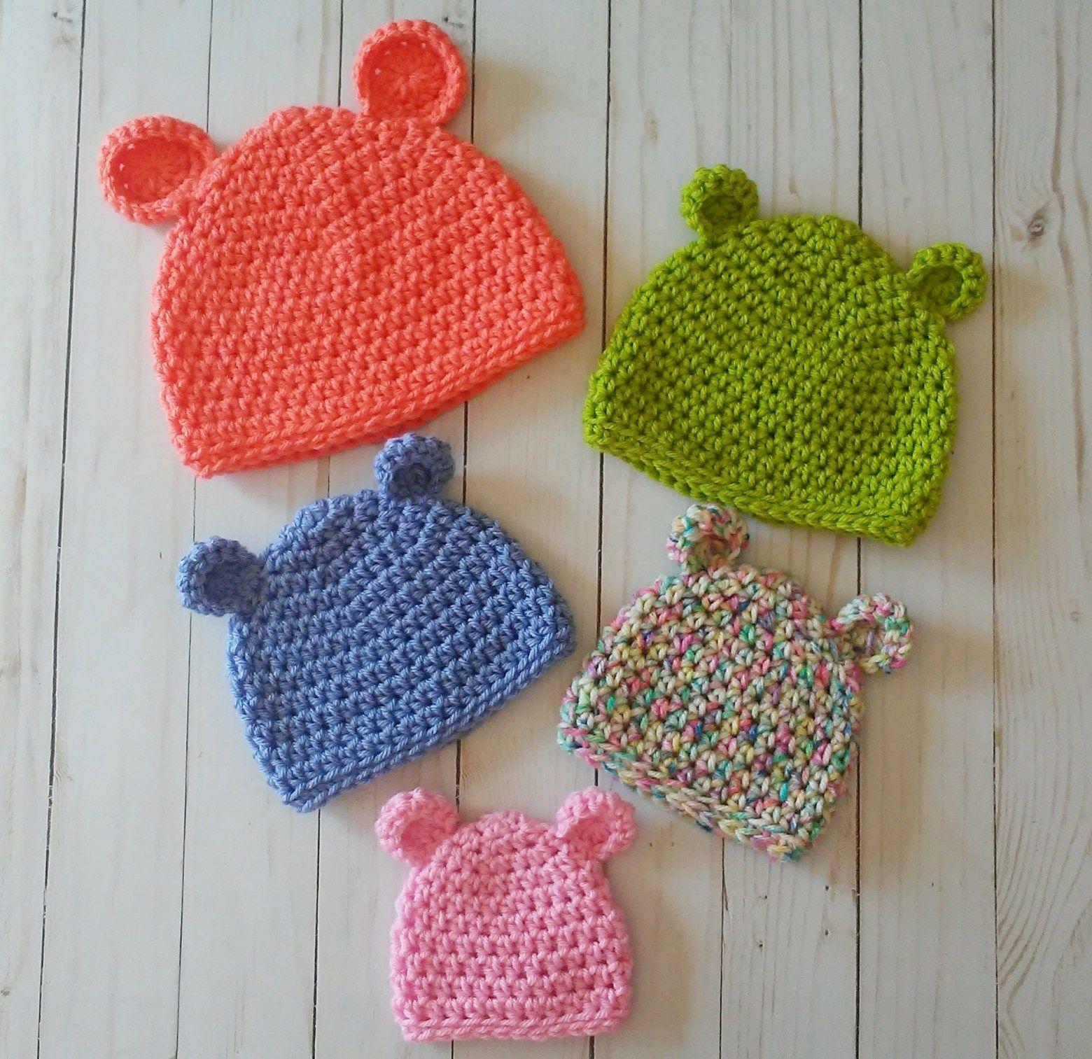 Newborn Child Size Crochet Gingerbread Bear Hat Infant