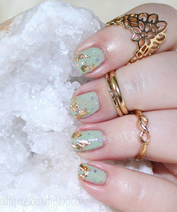 Gold Flake Foil Nail Art With Kbshimmer Sage It Aint So Nail Art