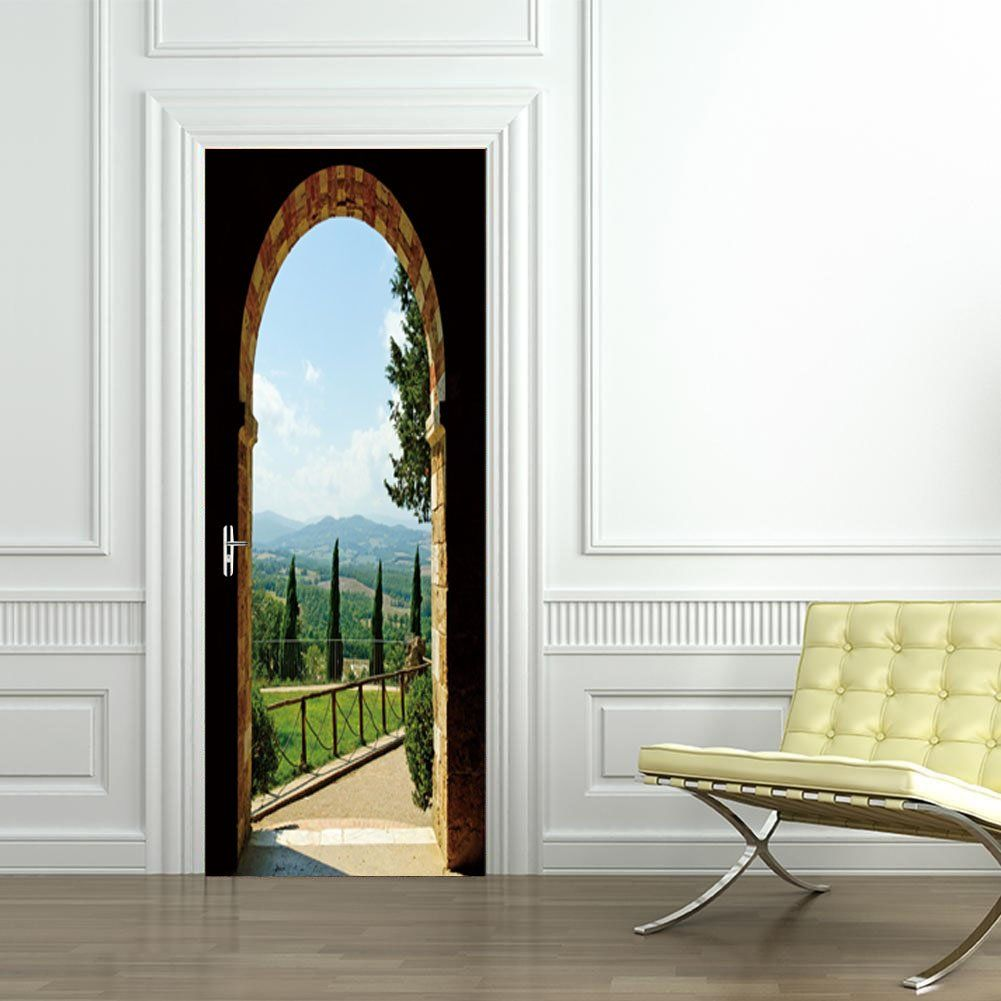 flfk 3d arched door wall sticker wrap mural scene self on wall stickers for home id=75701
