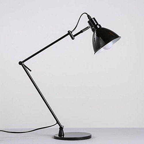 AMOS Modern Minimalist Scandinavian Style Black Long Arm Folding Table Lamp  Holder Metal Office School Office