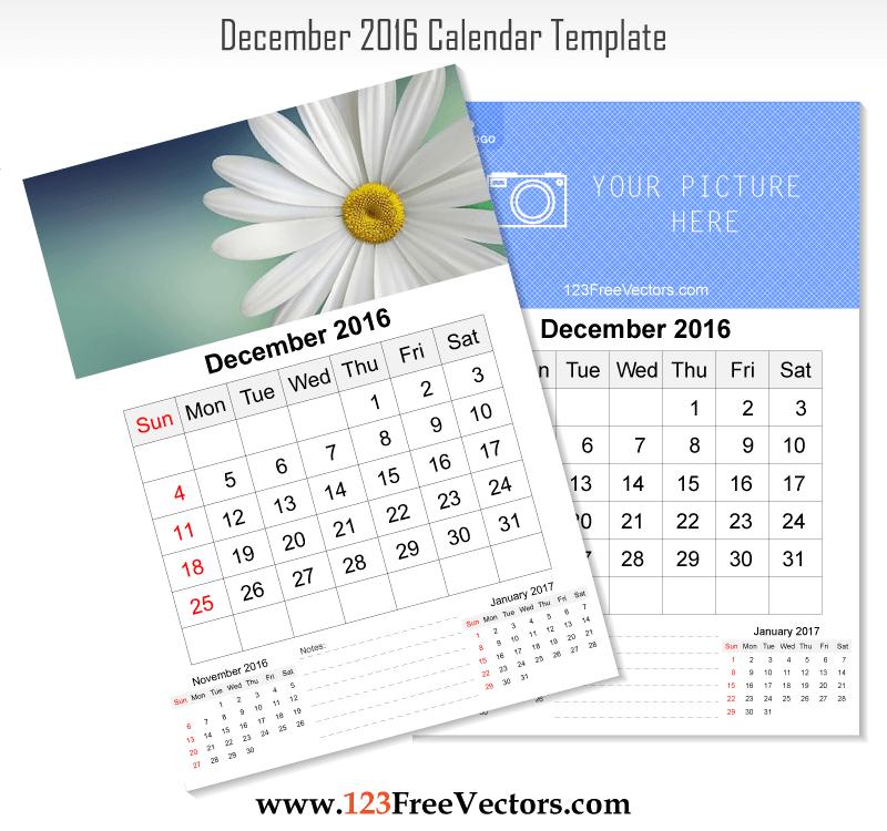 Wall Calendar December 2016 2016 Calendar Template Pinterest