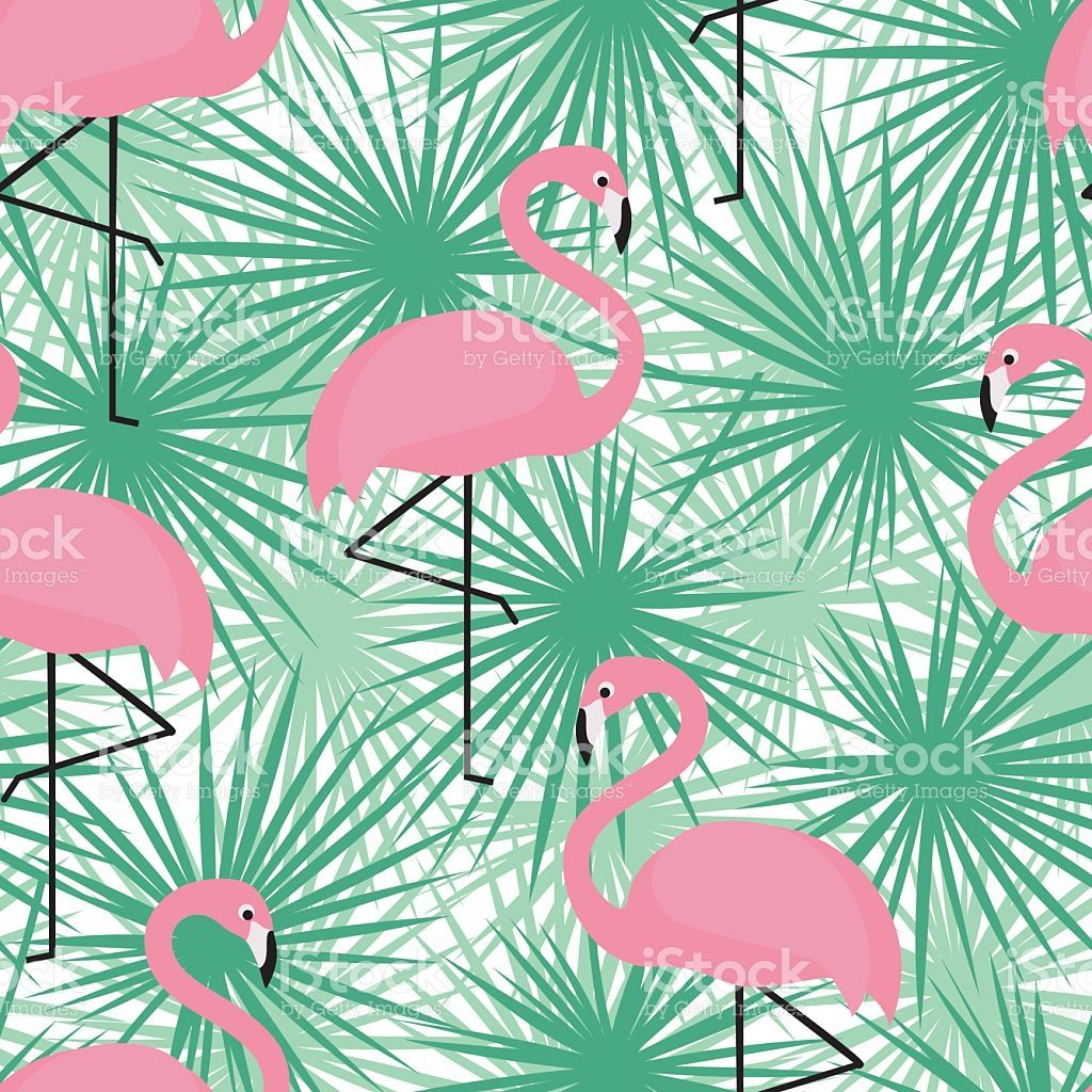 Tropical trendy seamless pattern with flamingos and palm leaves….
