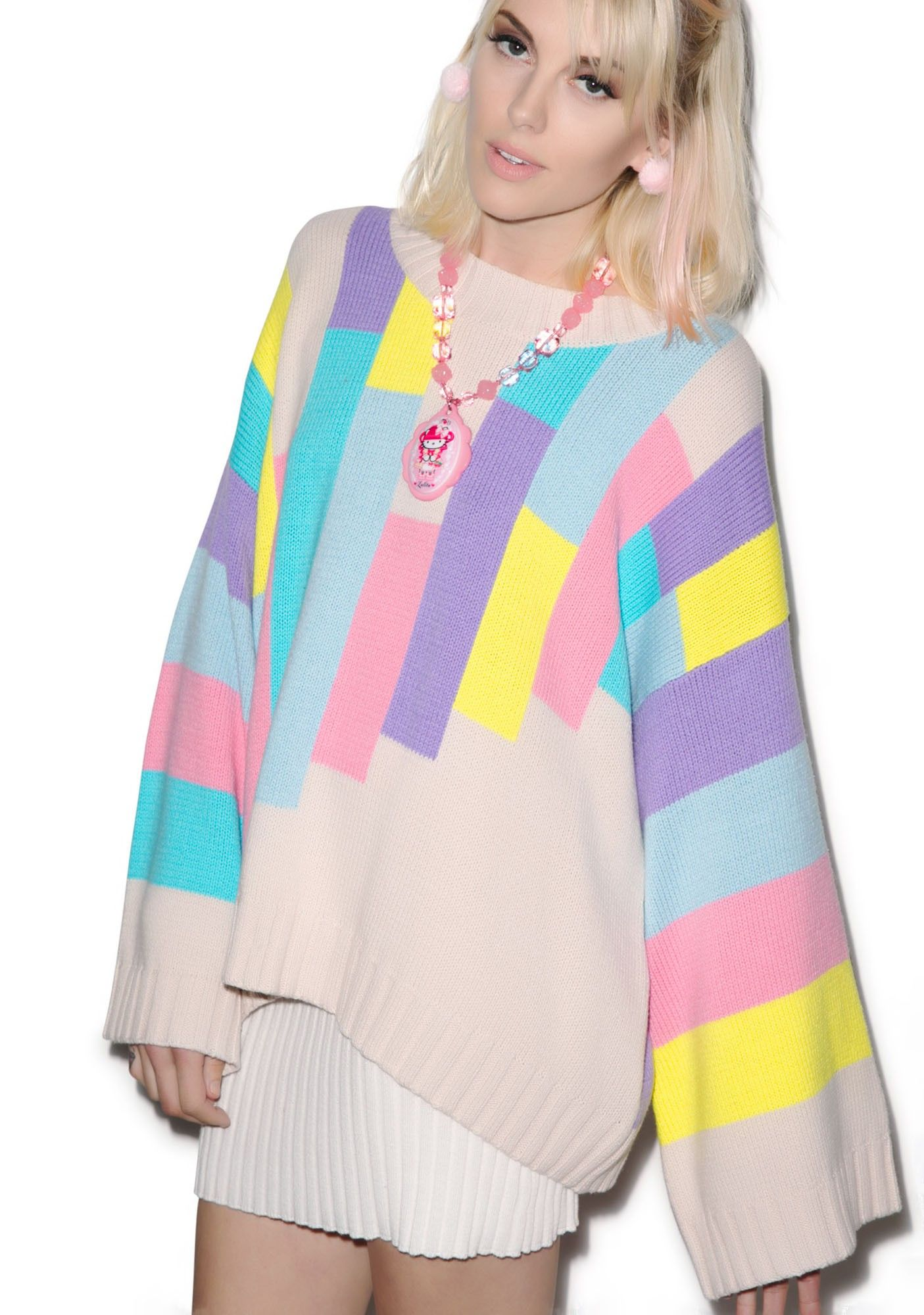 6aac21842f Wildfox Couture 80s Blocks Chunky Oversized Sweater