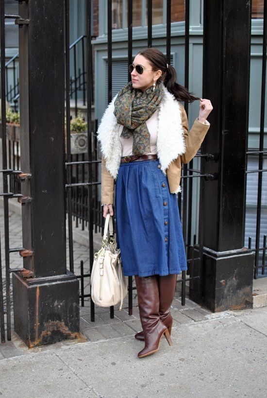 Shearling, long denim skirt and boots | PB | Style Your Boots ...